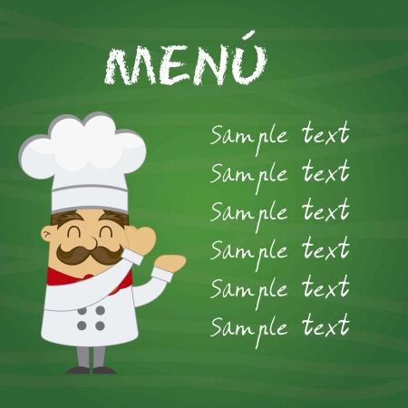 šéfkuchař: Menu s kreslený kuchař přes tabuli. vektorové ilustrace