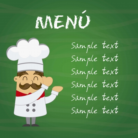 cooker: menu with cartoon chef over chalkboard. vector illustration