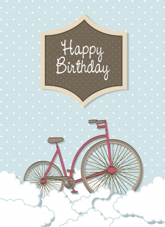 happy birthday card with bike over clouds. vector illustration Vector