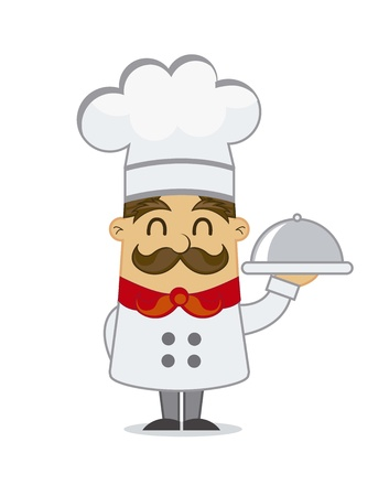 italian chef: cartoon chef  isolated over white background. vector illustration