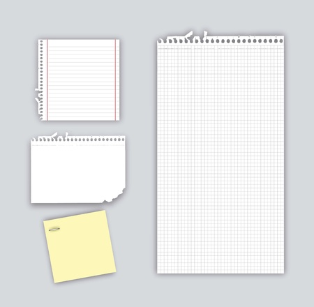 papers notebook with shadow over gray background. vector Vector
