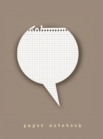 balloon text in paper notebook over brown background. vector Vector