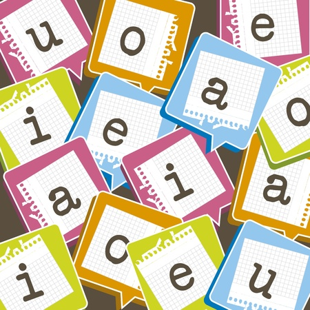 e u: cute background with vowels over paper. vector illustration