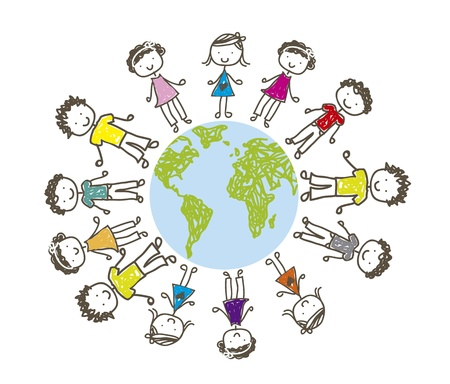 children over planet drawing over white background. vector Stock Vector - 14944388