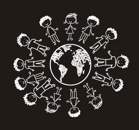 children over planet, black and white. vector illustration Stock Vector - 14944441