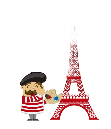 beret: cartoon french artist with tower eiffel over white background. vector Illustration