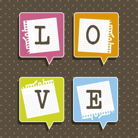 balloons text with paper notebook, love. vector illustration Vector