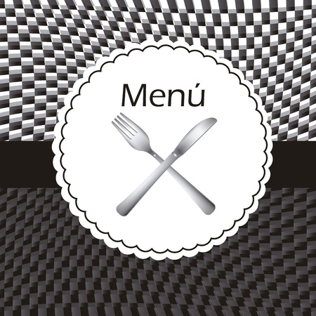 menu with knife and fork, black and white. vector illustration Illustration