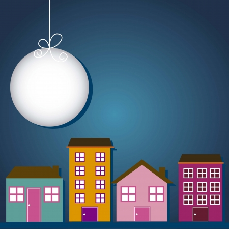 lighthearted: cute buildings with moon over night background. vector illustration