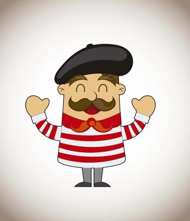 cartone animato dell'artista francese su sfondo marrone. illustrazione vettoriale