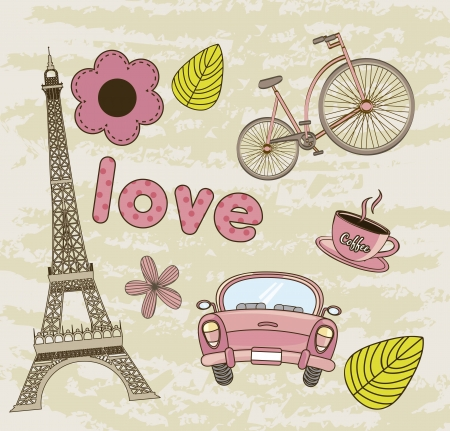 tower eiffel, coffee with car background. vector illustration Vector