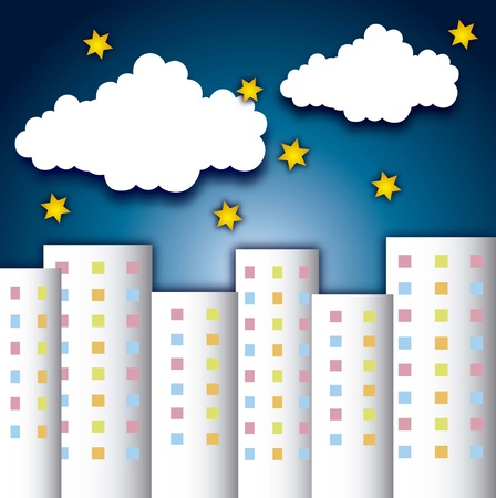 cute buildings with clouds and stars over night backgroud. vector Vector