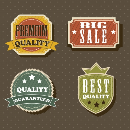 four vintage labels over brown background. vector illustration Stock Vector - 14944426