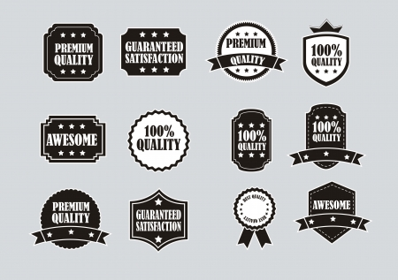 black and white labels over gray background. vector illustration Vector