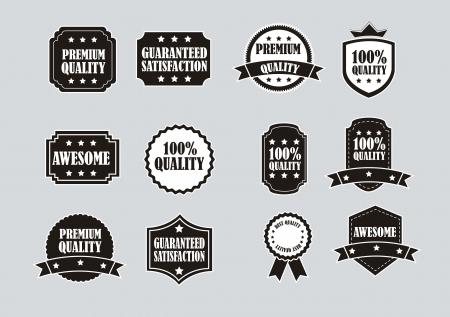 ruban noir: étiquettes en noir et blanc sur fond gris. illustration vectorielle Illustration