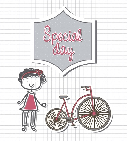 cute girl with bike over paper notebook. vector illustration Vector