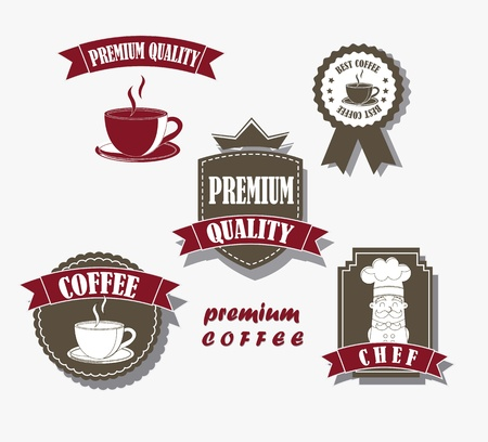 coffee labels over gray background. vector illustration