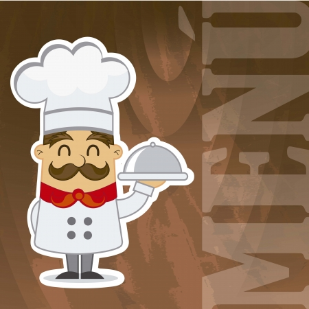cartoon chef over wooden texture, menu. vector illustration Vector