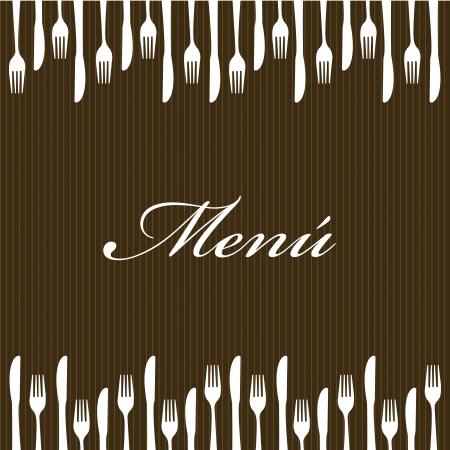 dinner setting: men� con cuberter�a sobre fondo marr�n. ilustraci�n vectorial