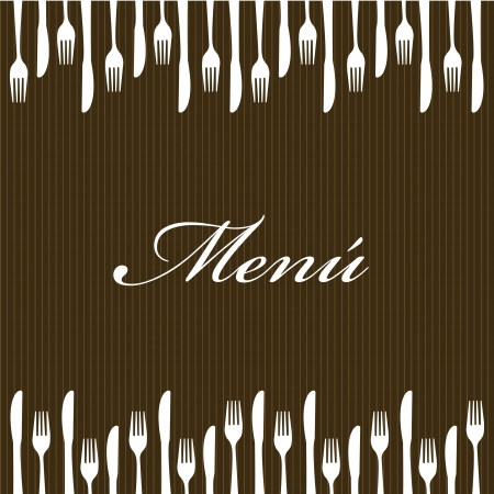 menu with cutlery over brown background. vector illustration Illustration