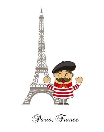 cartoon französisch mit Turm eiffel auf weißem Hintergrund. Vektor Vektorgrafik