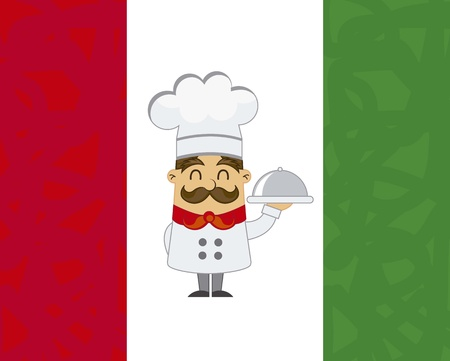 cartoon chef over italian flag. vector illustration