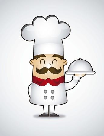 cartoon chef-kok over grijze achtergrond. vector illustratie