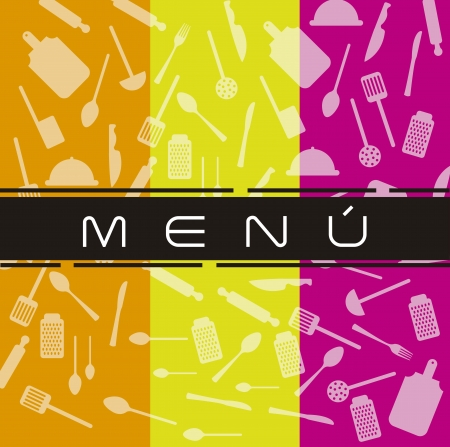 colorful menu with elements kitchen background. vector Stock Vector - 14944649