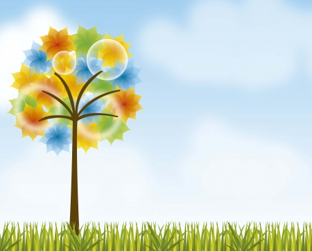 landscape with colorful tree over grass background. vector Stock Vector - 14944672