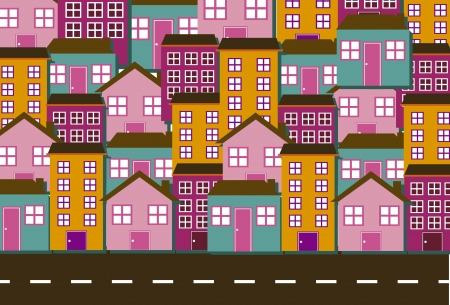 lighthearted: cute houses with street background. vector illustration