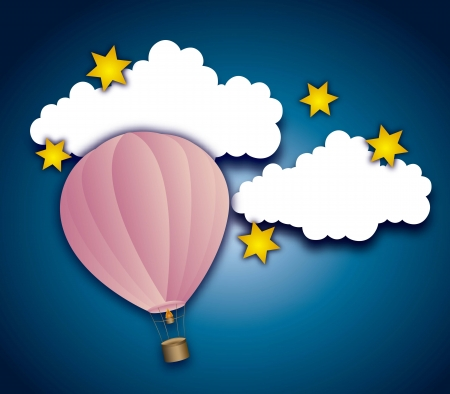 ling: cute air balloon with clouds and stars over night. vector illustration