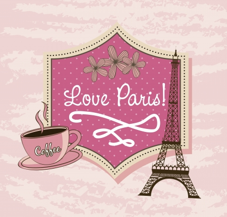 love paris with tower eiffel and coffee over pink background. vector illustration Vector