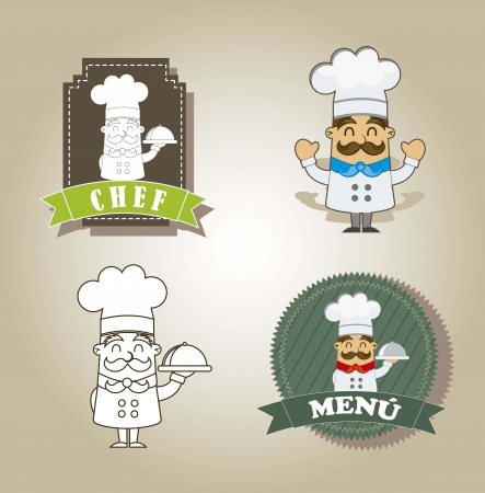 cartoon chef with labels over brown background. vector Vector