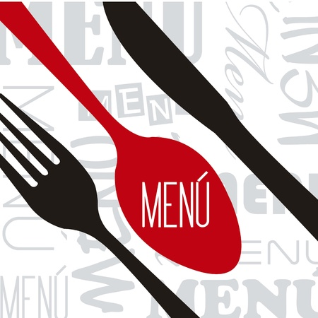 menu with cutlery over white background. vector illustration Vector