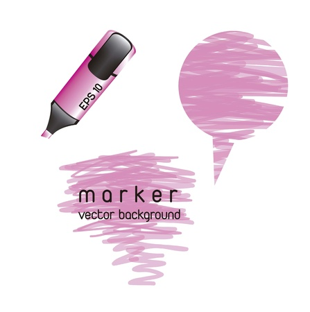 pink highlighter over white background. vector illustration Vector