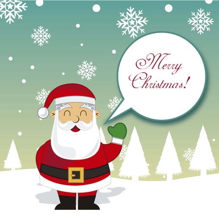 oldman: merry christmas with santa claus over snow illustration