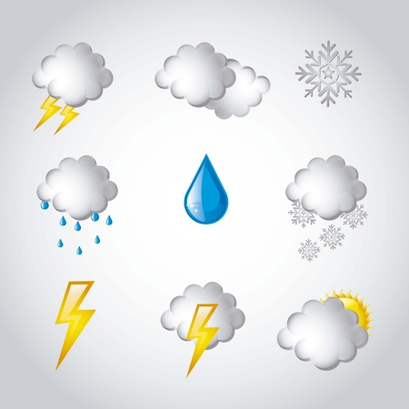 weather icons over gray background illustration Vector