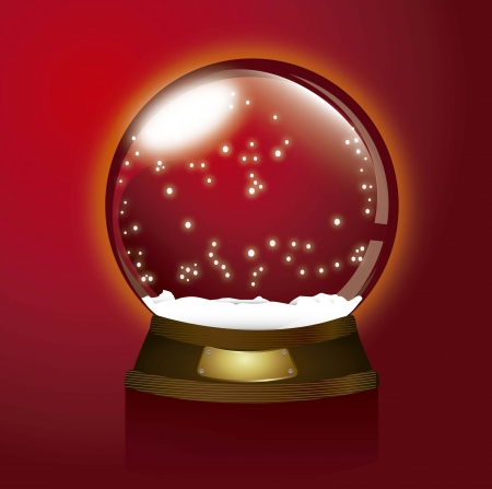 red christmas snow globe, merry christmas illustration Vector