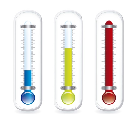 hot temperature: thermometer with shadow over white background