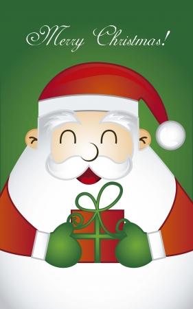 feliz: merry christmas card con Babbo Natale Vettoriali