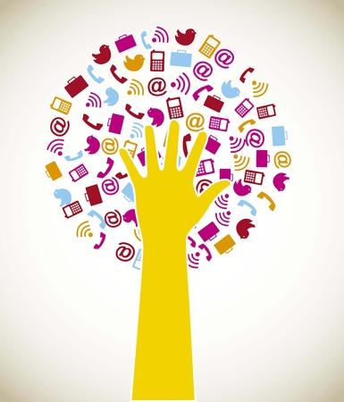 radio tower: business icons with hand, tree shape illustration Illustration