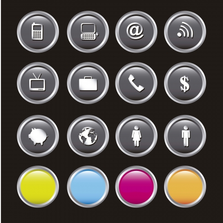 communication icons over black background illustration Stock Vector - 15068097