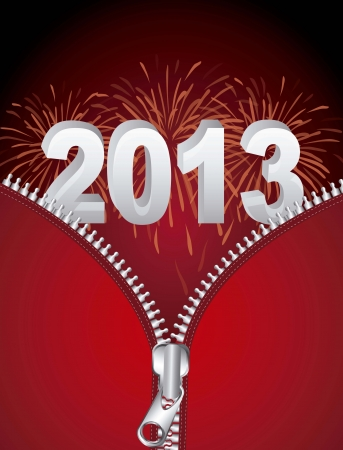 2013 new year with fireworks and zipper illustration Vector