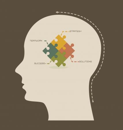 planning diagram: strategia concettuale e lavoro di squadra, illustrazione pensando