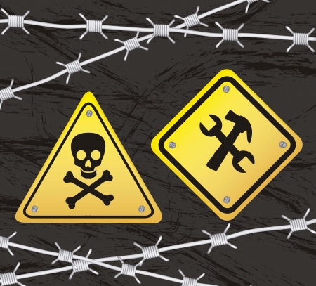 construction yellow sign with barbed wire over black background Stock Vector - 15068249