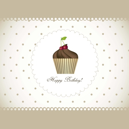 happy birthday card with cupcake illustration