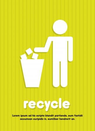 papelera de reciclaje: Recicle la muestra sobre ilustración de fondo verde