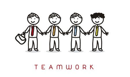 excellent work: cartoon businessman over white background, teamwork
