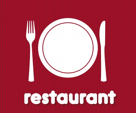 collation: restaurant icon over red background illustration