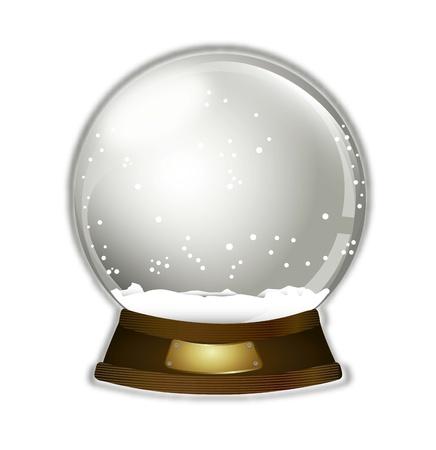 snow globe: christmas snow globe over white background illustration